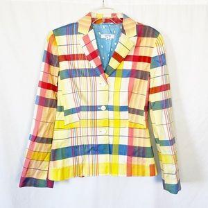 Escada silk red/yellow/blue plaid blazer jacket 38